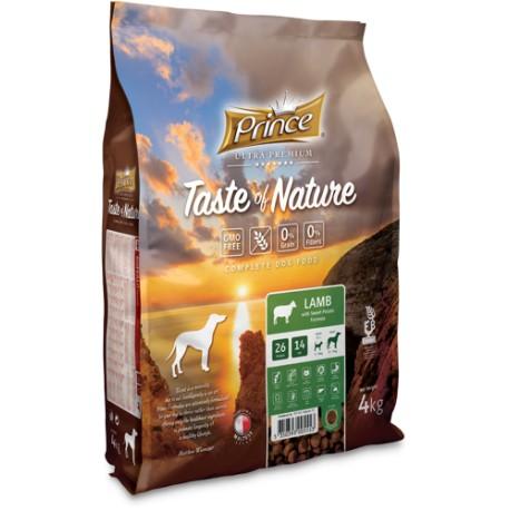 Prince Taste of Nature - karma sucha dla psów dorosłych i szczeniąt ras średnich i dużych z jagnięciną i batatami 4 kg