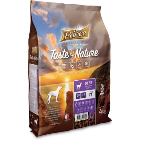 Prince Taste of Nature - karma sucha bez zbóż dla psów dorosłych wszystkich ras  z mięsa jelenia  i łososia 4 kg