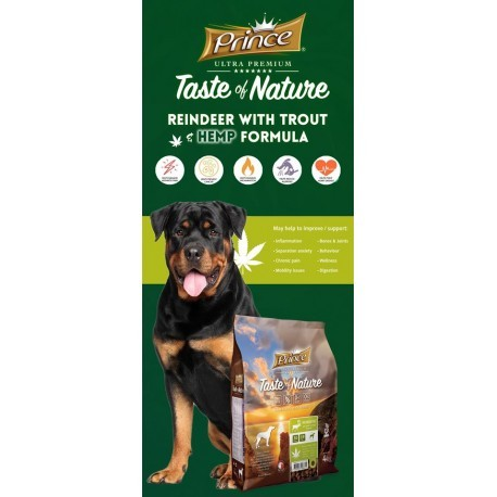 Prince Taste of Nature karma dla psa z reniferem 4kg bez zbóż z konopią
