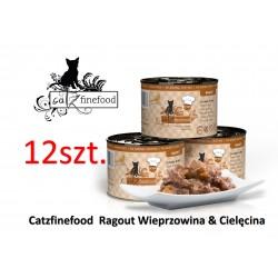 PAKIET 12 SZT Catz Finefood Ragout No 609 - wieprzowina z cielęciną z batatami i cukinią  180g