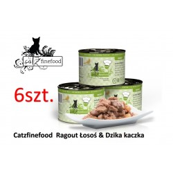 Pakiet 6 szt Catz Finefood Ragout No 605 - łosoś z dziką kaczką 180g