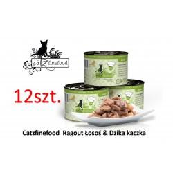 Pakiet 12 szt Catz Finefood Ragout No 605 - łosoś z dziką kaczką 180g