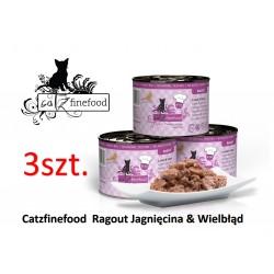 Pakiet 3 szt Catz Finefood Ragout  No 611 - jagnięcina i wielbłąd z marchewką i szpinakiem 180g