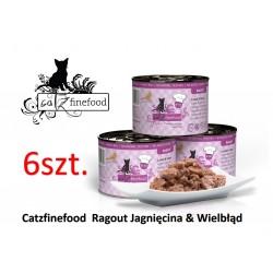 Pakiet 6 szt Catz Finefood Ragout  No 611 - jagnięcina i wielbłąd z marchewką i szpinakiem 180g