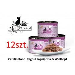 Pakiet 12 szt Catz Finefood Ragout  No 611 - jagnięcina i wielbłąd z marchewką i szpinakiem 180g