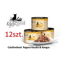 PAKIET 12 szt Catz Finefood Ragout No 607- kaczka z kangurem 180g
