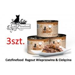 PAKIET 3 SZT Catz Finefood Ragout No 609 - wieprzowina z cielęciną z batatami i cukinią  180g