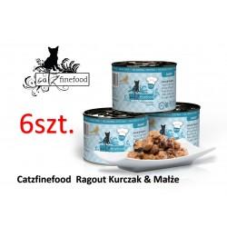 PAKIET 6 szt Catz Finefood Ragout No 613 - Kurczak i małże z dynią i jagodami 180g